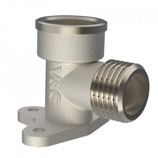 Кутник внутрішня-зовнішня різьба з кріпленням водорозетка V&G