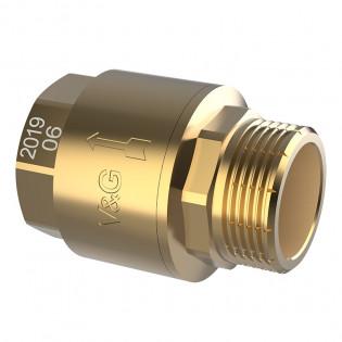 Зворотній клапан внутрішня-зовнішня різьба V&G з латунним штоком